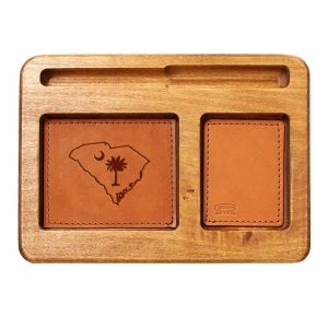 Hardwood Desk Organizer with Leather Inlay: SC Palmetto