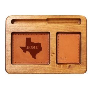 Hardwood Desk Organizer with Leather Inlay: TX Home