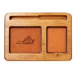 Hardwood Desk Organizer with Leather Inlay: VA is for Lovers