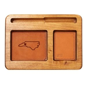 Hardwood Desk Organizer with Leather Inlay: WNC Heart