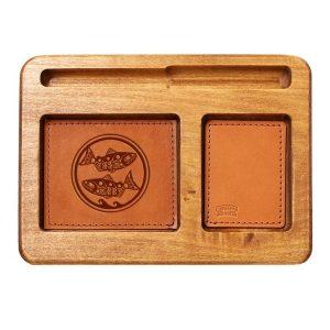 Hardwood Desk Organizer with Leather Inlay: Zen Fish / Pisces