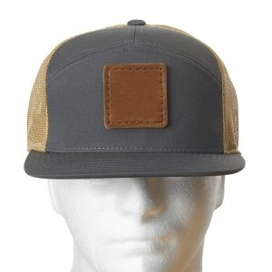 Charcoal-Gold Seven Panel Twill Trucker with Custom Patch