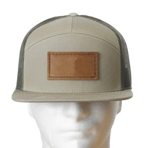 Khaki-Loden Seven Panel Twill Trucker with Custom Patch