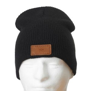 "9"" Super Soft Acrylic Beanie with Patch: Whiskey"