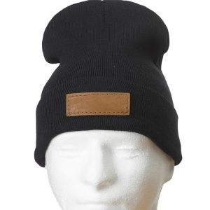 """12"""" Black Cotton Blend Fold Beanie with Custom Patch"""