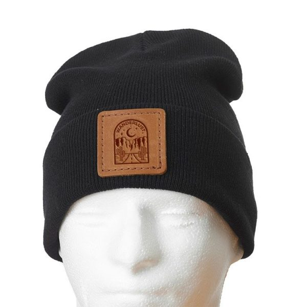 """12"""" Cotton Blend Fold Beanie with Patch: Wanderlust"""