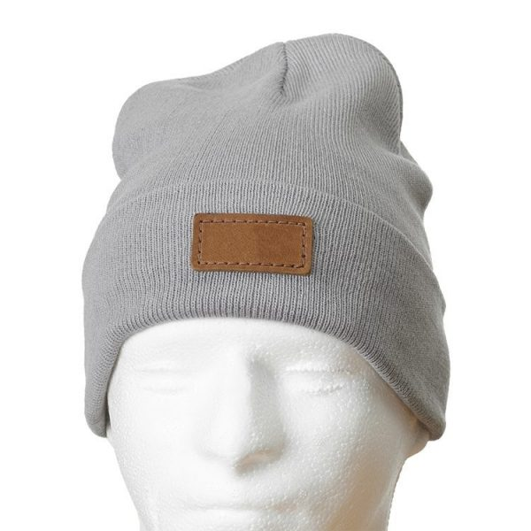 """12"""" Grey Cotton Blend Fold Beanie with Custom Patch"""