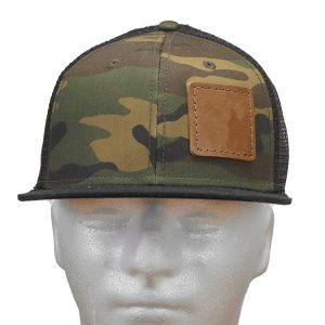 Camo Flat Bill Decorative Hat with Custom Patch