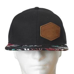 Black Crown/Hawaiian Floral Bill Decorative Hat with Custom Patch