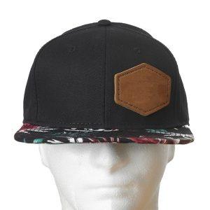 Black Crown/Hawaiian Floral Bill Decorative Hat with Custom Patch