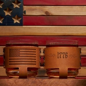Rocks Glass Holders: American Flag; Box Set of 2 with 9oz Glasses