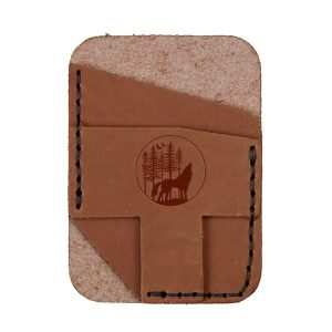 Double Vertical Card Wallet: Howling Wolf