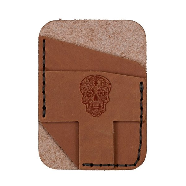 Double Vertical Card Wallet: Candy Skull