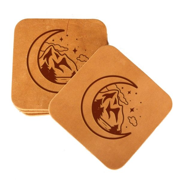 Square Coaster Set of 4 with Strap: Mountains & Moon