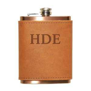 8 oz Copper Plated Stainless Flask with Leather Wrap: Custom