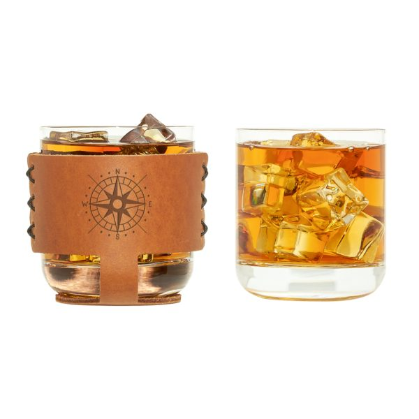 9oz Rocks Sleeve Set of 2 with Glasses: Compass Rose