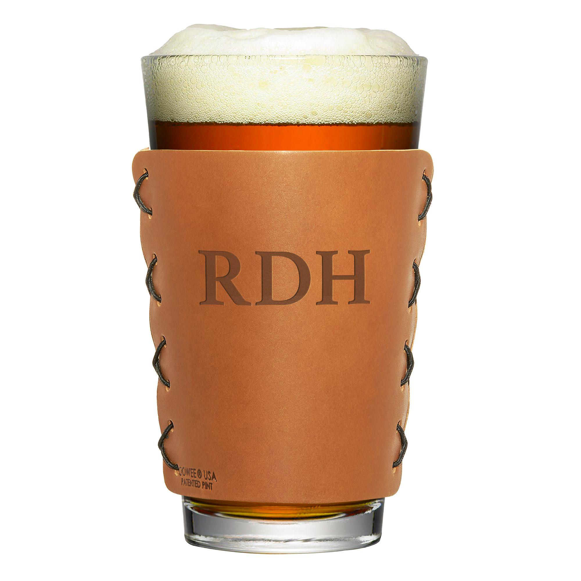 Personalized Leather Pint Holder with Initials; 16-oz Pint Glass
