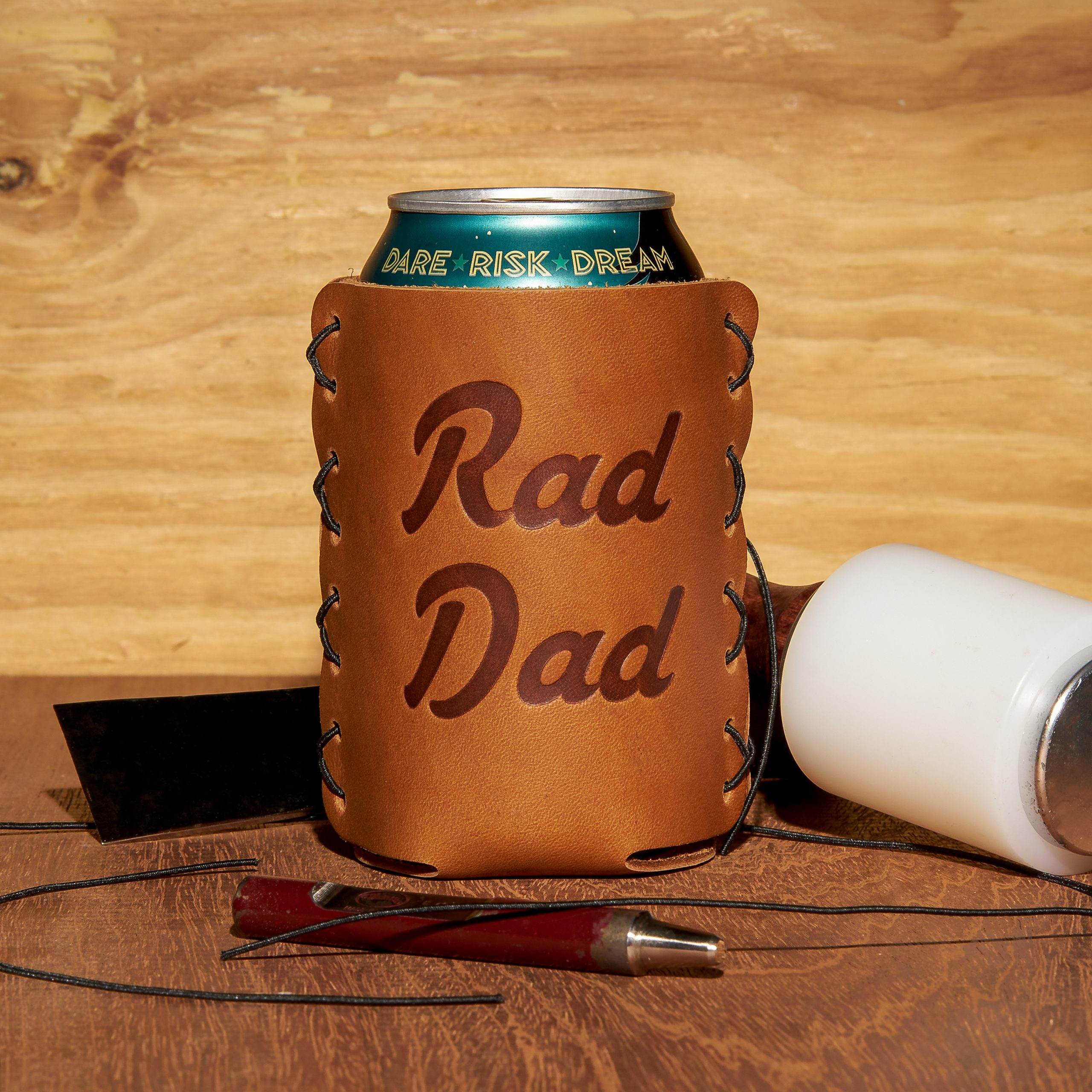Leather Can Holder: Rad Dad