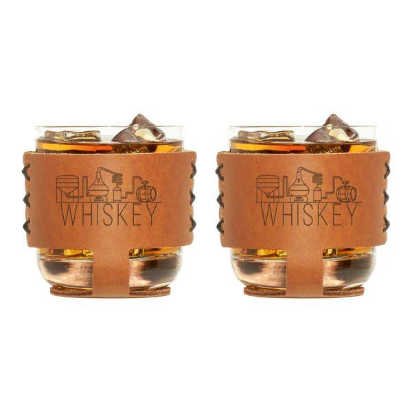 9oz Rocks Sleeve Set of 2 with Glasses: Whiskey