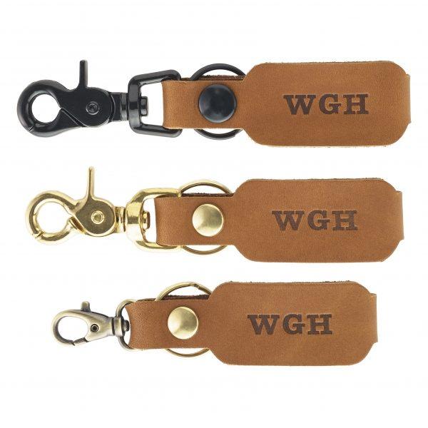 SLIM Leather Key Chain: Custom Initials
