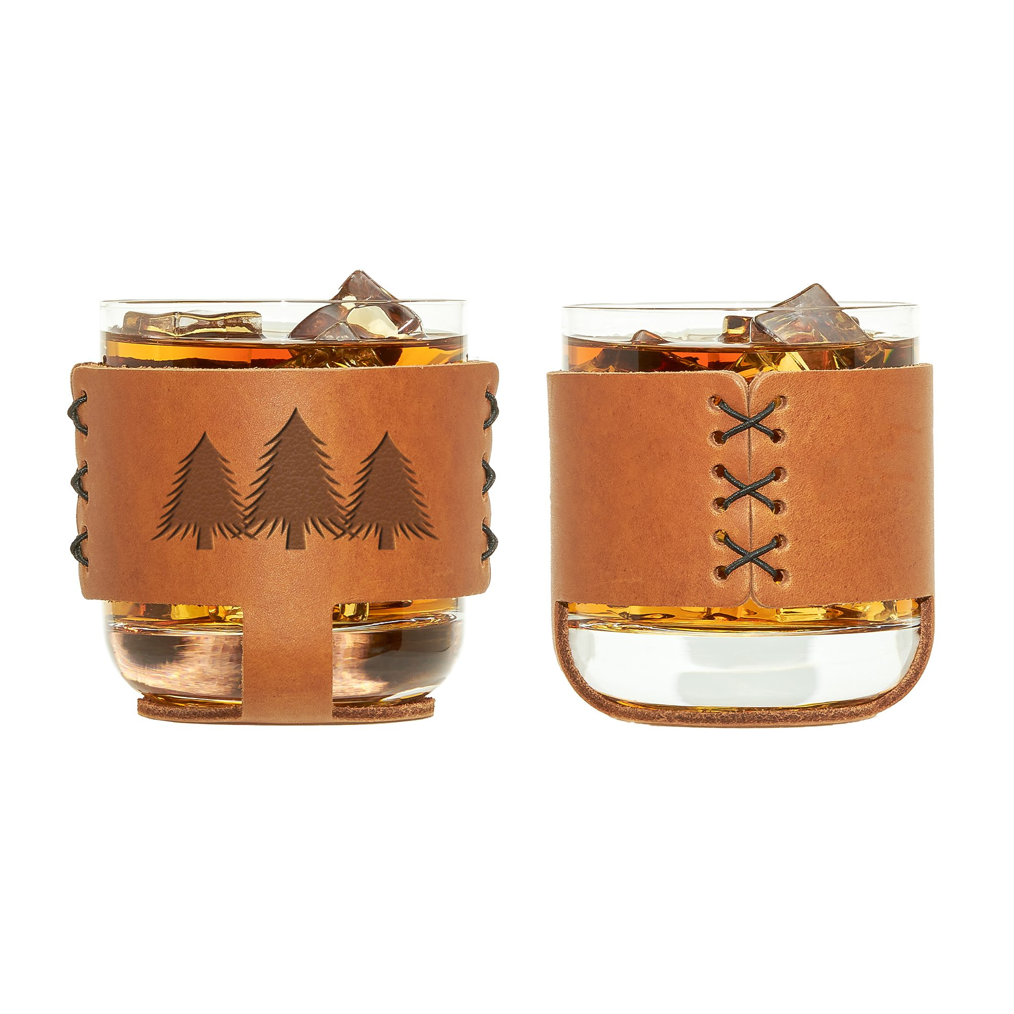 9oz Rocks Sleeve Set of 2 with Glasses: Pine Trees