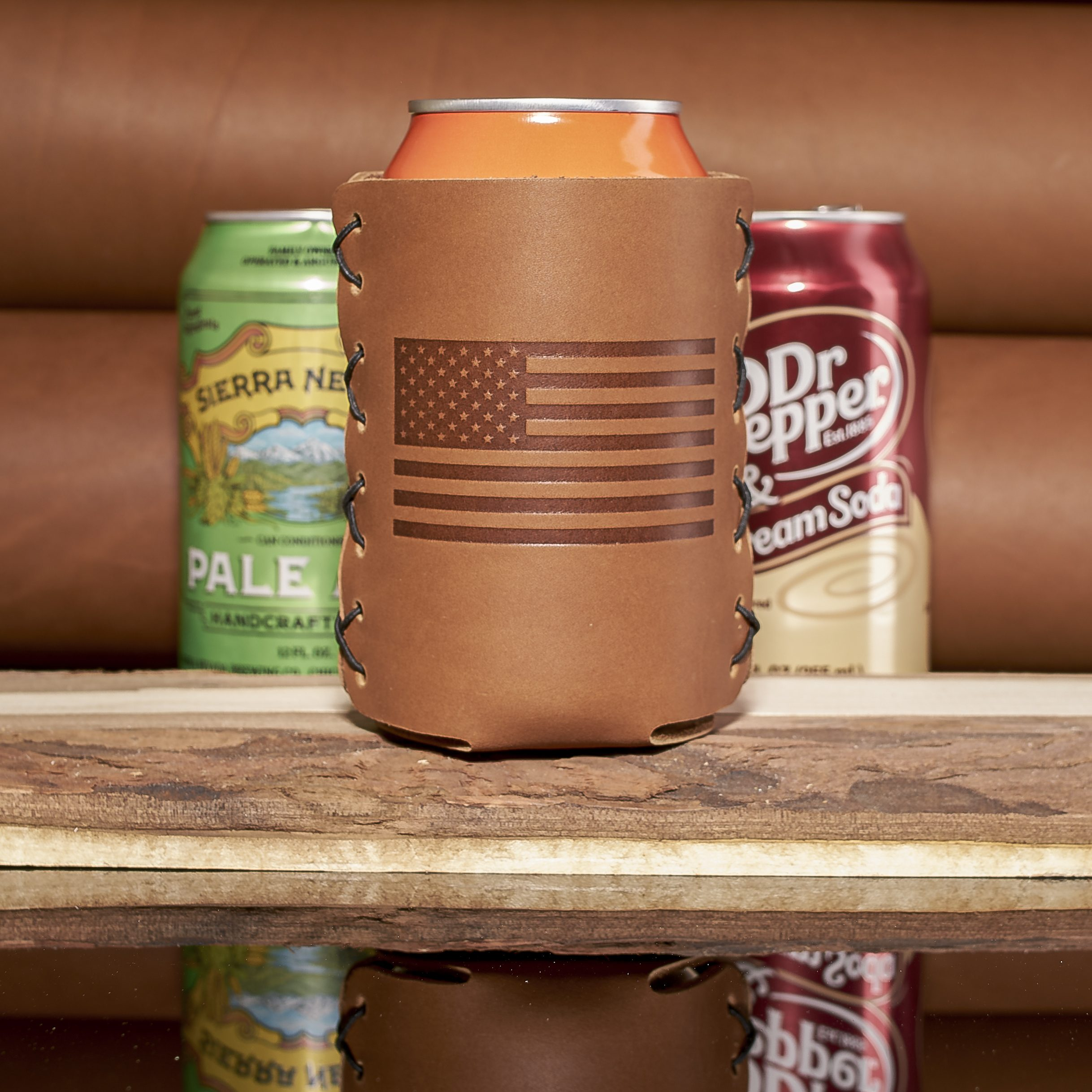 Patriotic Leather Can Holder; Fits 12 to 16-oz Cans and the Stubby Bottle