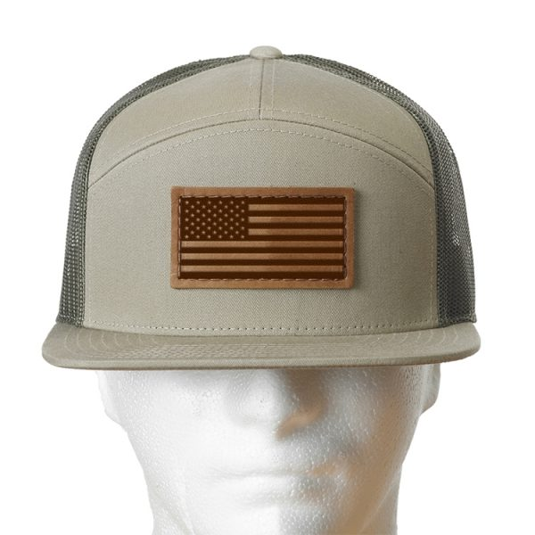 Seven Panel Twill Trucker: American Flag