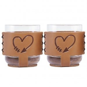 9oz Rocks Sleeve Set of 2 with Glasses: Valentine's Day Heart