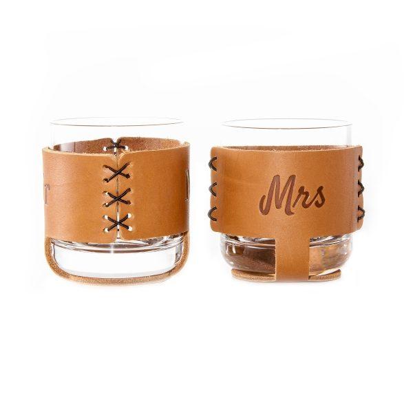 9oz Rocks Sleeve Set of 2 with Glasses: Mr & Mrs