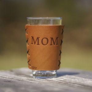 Leather Pint Holder: Compass Mom; Box Set