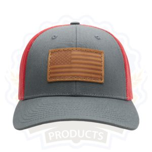 Leather Patch Trucker Hat; American Flag Patch on Red and Charcoal Trucker Hat