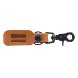 American Flag Leather Keychain with Brass or Black Zinc Hardware