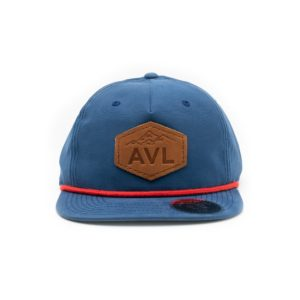 Leather Patch Hat; Blue with Red; Pick Your Logo