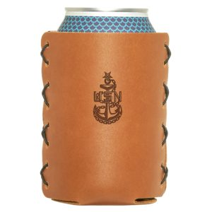 Navy Senior Chief Can-Holder; Leather; Fits 12 to 16-oz Cans and Stubby Bottles