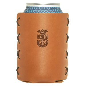 Navy Master Chief Can-Holder; Leather; Fits 12 to 16-oz Cans and Stubby Bottles