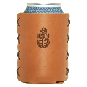 Navy Chief Can Holder; Leather; Fits 12 to 16-Cans and Stubby Bottles