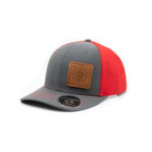 Leather Patch Trucker Hat; Charcoal and Red; Pick a Logo