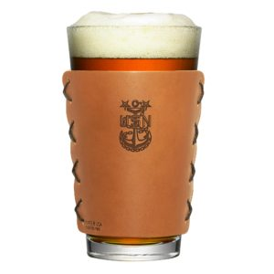 Navy Master Chief Pint-Holder; Leather; Fits 16-oz Pint Glass; Box Set