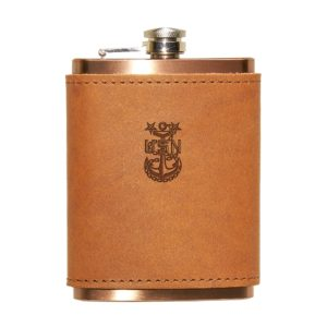 Navy Master-Chief Flask; Leather; 8-oz Copper Plated Stainless Steel