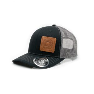 Leather Patch Trucker Hat; Black/Charcoal; Pick a Logo