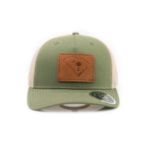 Leather Patch Trucker Hat; Olive Green/Tan; Pick Your Logo