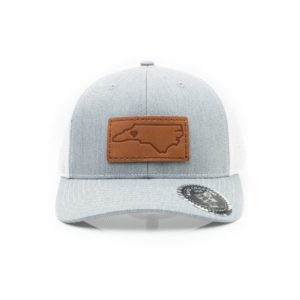 Leather Patch Trucker Hat; Heather Grey/White; Pick Your Logo